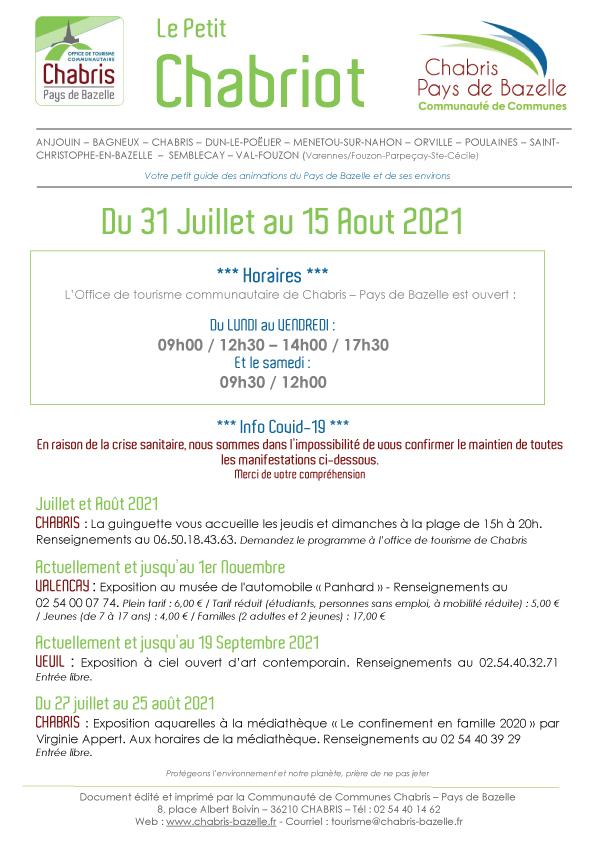 Le Petit Chabriot du 31 Juillet au 15 Aout 2021