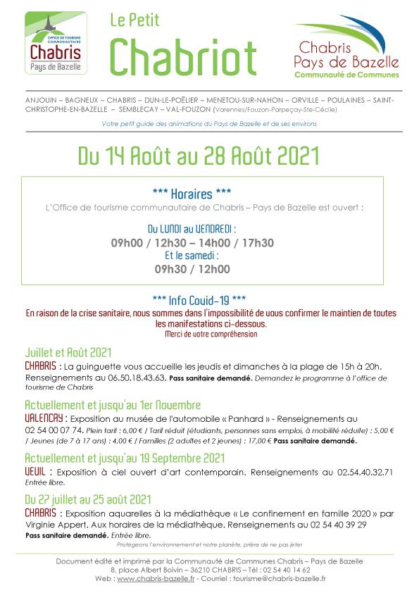 Le Petit Chabriot du 14 août au 28 Août 2021