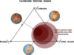 Graphical overview of mixture design of labrasol, plurol and ethyl oleate with catechin