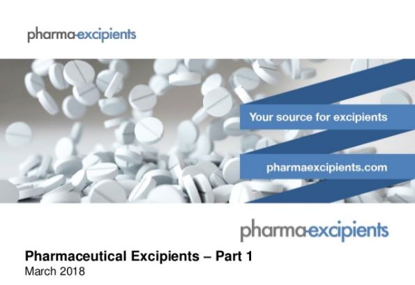Screenshot of the first slide of the pharma excipients presentation on regulation for pharma excipients