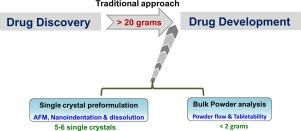 Graphic with step of early bulk powder processability assessment in drug development