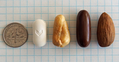 Photo which compares pharmaceutical tablet and capsule sizes with the size of an almond
