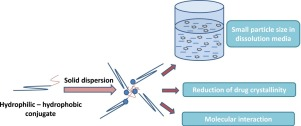 hydrophilic-hydrophobic conjugates as new carriers for nano-sized solid dispersions (SDs) were researched.
