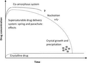 Supersaturating drug delivery system. Drug concetration to time.