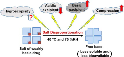 Overview graphic: Effect of excipient properties on the disproportionation of a pharmaceutical salt