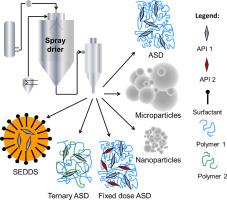 Schematic representation of amorphous solid dispersions, microparticles, nanoparticles, Ternary ASD and Self-emulsifying drug delivery systems prepared by spray drying.
