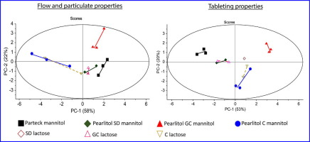 Graphic with overview flow and particulate properties of mannitol and lactose grades
