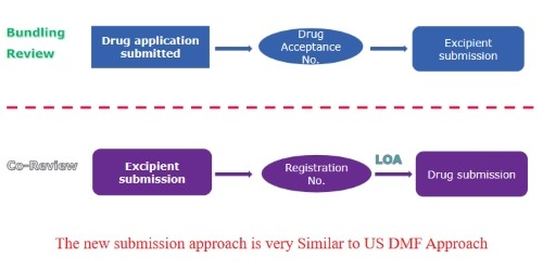 Graphic with the chinese drug master file submission process for excipients