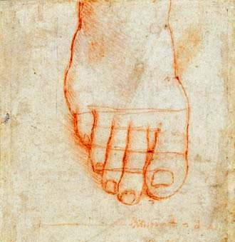 "Leonardo da Vinci, ""Studio di un piede con misure"", circa 1490 (Windsor, The Royal Collection)"