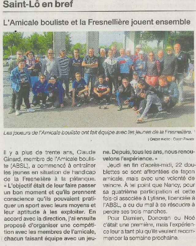 article Ouest-France du mardi 21 mai 2019