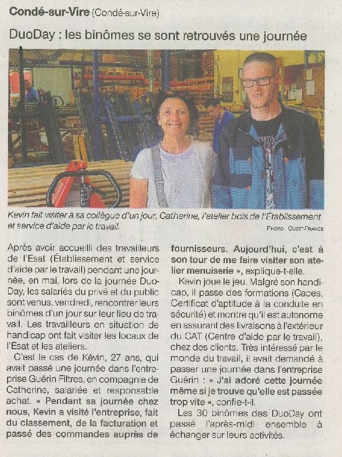 Article Ouest-France du jeudi 18 juillet 2019