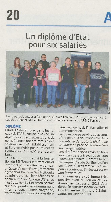 article de La Manche Libre du jeudi 20 décembre 2018 p.20