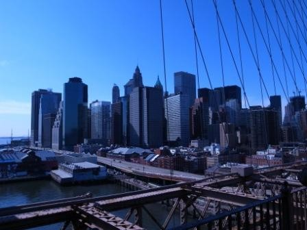 ブルックリンブリッジからマンハッタン展望
