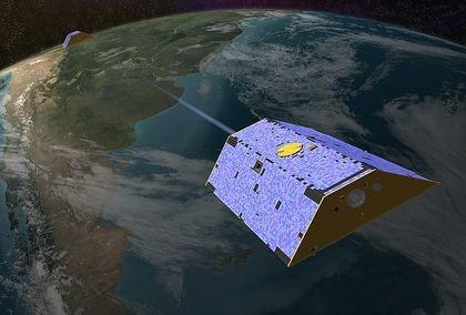 Abb. 1: Grace-Satelliten über dem Südatlantik