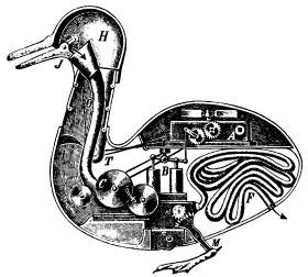 Jacques de Vaucansons mechanische Ente, inspiriert durch das mechanistische Verständnis des Körpers.