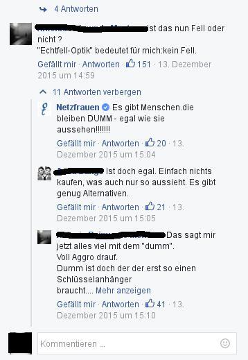 Typische Reaktion auf sachliche Anmerkungen (Bild: facebook)