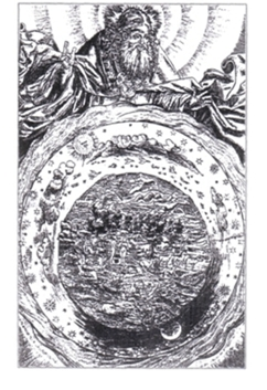 Abb. 2: Das simple Bild der biblischen Schöpfungsordnung dominierte bis ins 19. Jahrhundert hinein (Holzschnitt aus einer Bibel des 16. Jahrhunderts).