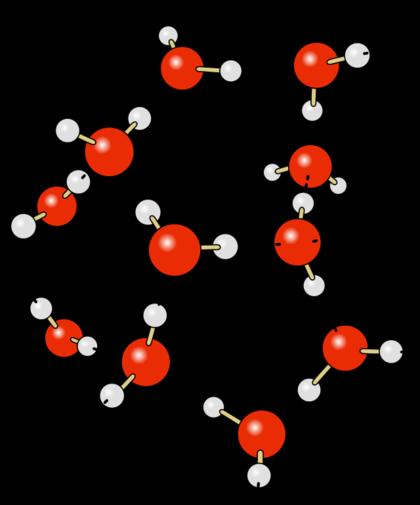 Räumliche Vernetzung der H2O-Moleküle: Wasserstoffbrückenbindungen (gestrichelt). Rot: O-Atome, grau: H-Atome