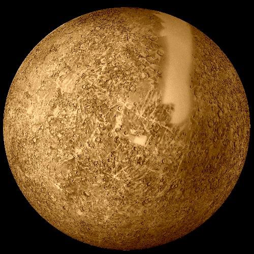 Die mit Mariner 10 kartierten Oberflächenteile (der helle Streifen war nicht erfasst worden)