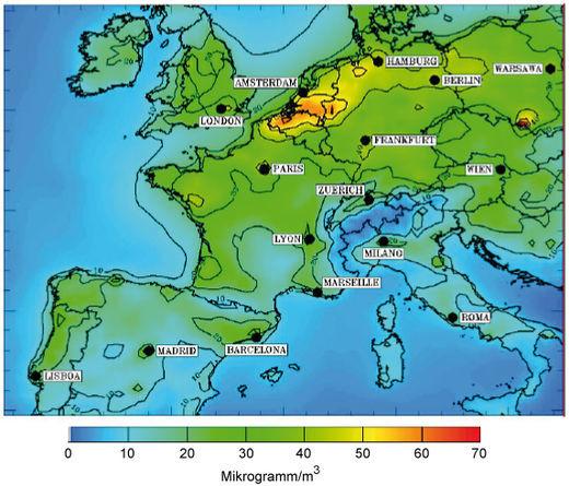 Aerosolkonzentration im Januar 2006 durch Partikel kleiner als 2.5 μm über West- und Mitteleuropa (modelliert)
