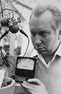 Scientology Erfinder L. Ron Hubbard bei einem telepathischen Backster-Experiment mit Tomaten