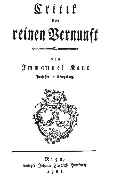 Immanuel Kant, Kritik der reinen Vernunft, Titelblatt der Ausgabe von 1781