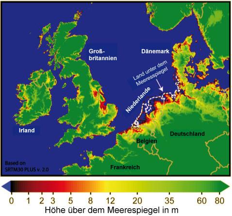 Gefahr durch einen künftigen Meeresspiegelanstieg rund um die Nordsee