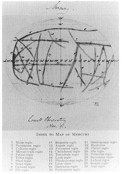 Merkurkarte von Percival Lowell, 1896