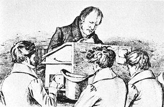 Hegel mit Berliner Studenten Lithographie F. Kugler