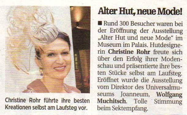 AUSSTELLUNG ALTER HUT UND NEUE MODE - Christine Rohr Master Milliner