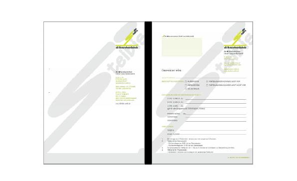 Briefpapier und Anmeldeformular der Skischule Steibis.