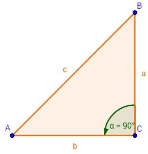 Rechtwinkliges Dreieck mit eingezeichnetem Winkel