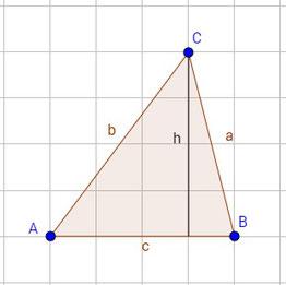 Ein Dreieck mit eingezeichneter Höhe