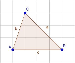 Dreieck mit Bezeichnungen von Seiten und Ecken