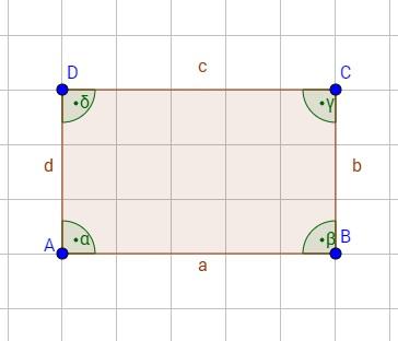 Ein Viereck mit eingezeichneten Bezeichnungen für Winkel, Seiten und Ecken
