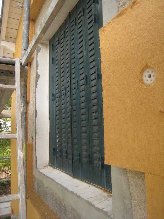 Isolation extérieure en 2 couches de panneaux de laine de bois
