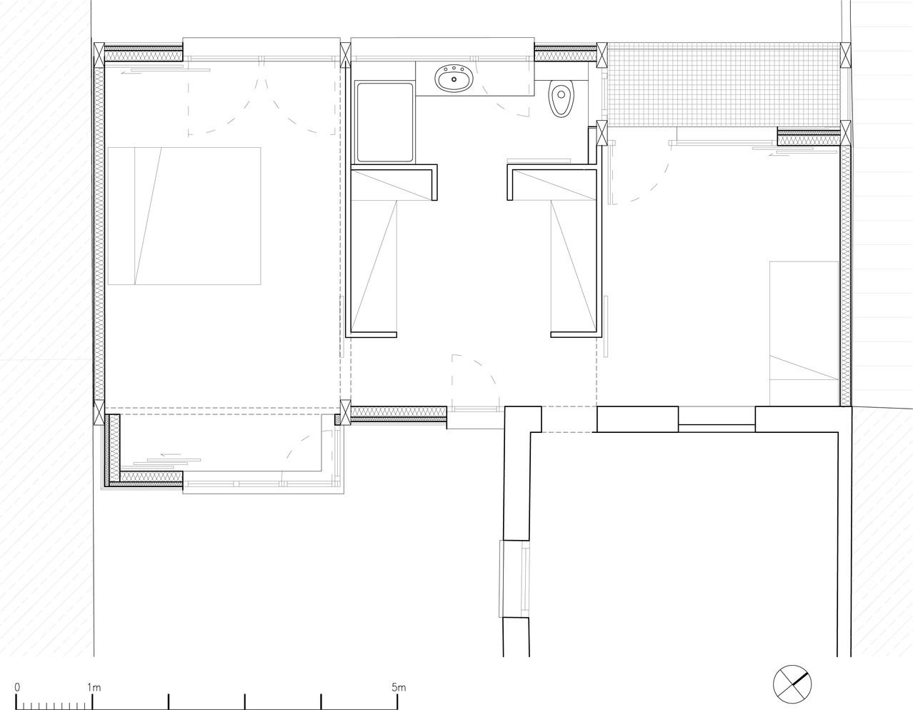 plan de l'étage: 2 chambres, dressing