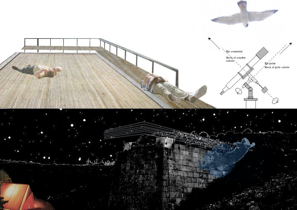 observatoire astronomique: plateforme bois sur pylône ancien viaduc