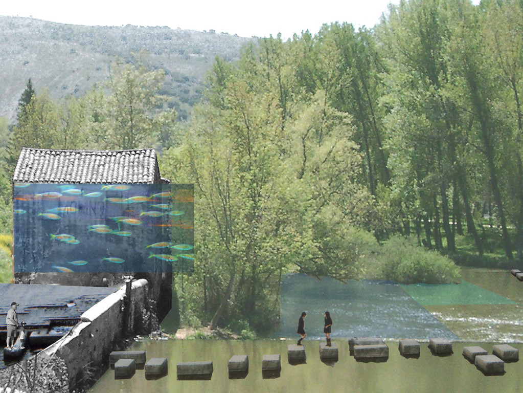 barrage-sculpture, pisciculture: bassins + façade aquarium