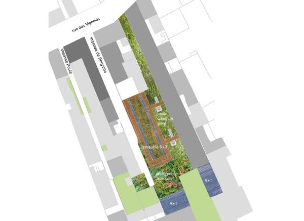 plan d'ensemble : un immeuble au toit végétalisé entre deux impasses piétonnes