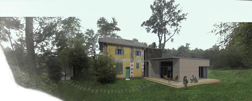 À droite, les façades sud et est de l'extension