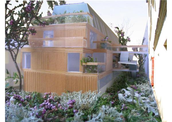 le jardin intérieur collectif et les terrasses individuelles