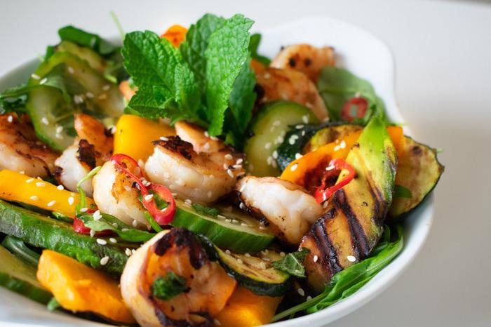 BBQ salade met scampi