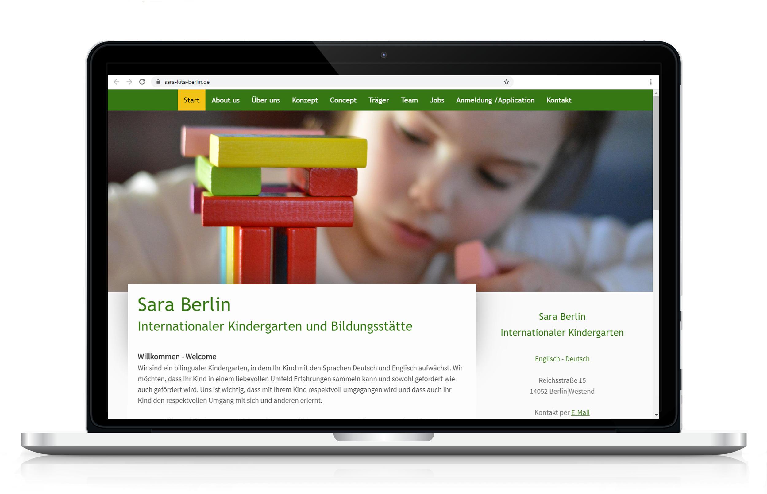 Webseite für Kita Sara Berlin