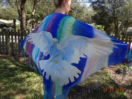 Hand Dyed Silk Prayer Shawl with Large White Dove and long fringe