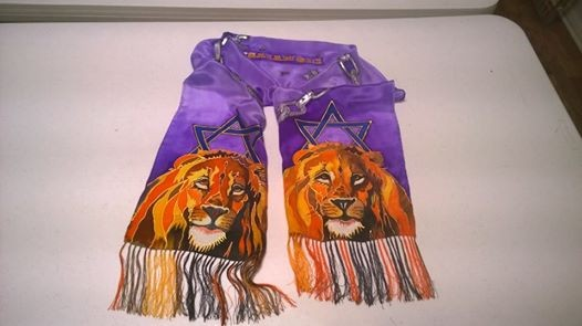 Silk Scarf with Two Majestic Lions, each one crowned with the Star of David and having long, fringed beards.  Broken Chains around Isaiah 61:1 Scripture from the Bible.  Purple background.