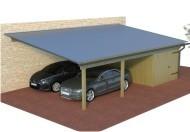 Multi Pultdach Doppelcarport aus Holz mit Abstellraum  online mit Preis berechnet