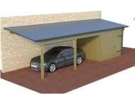 Multi Pultdachcarport aus Holz mit Abstellraum online mit Preis berechnet