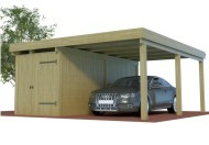 Multi Carport aus Holz mit seitlichem Abstellraum online mit Preis berechnet