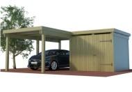 Multi Carport aus Holz mit seitlichem Abstellraum als Winkelbau online mit Preis berechnet